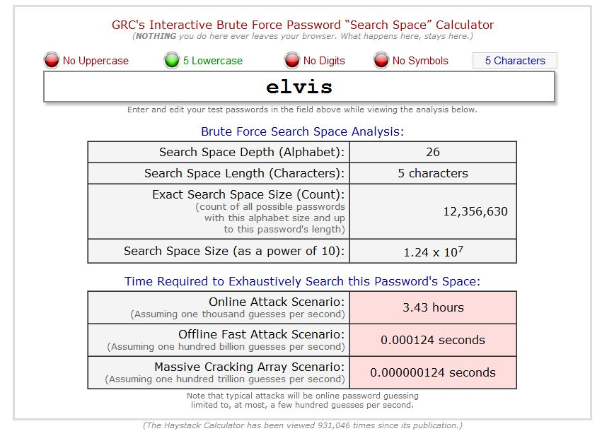 Interactive Brute Force Password Calculator