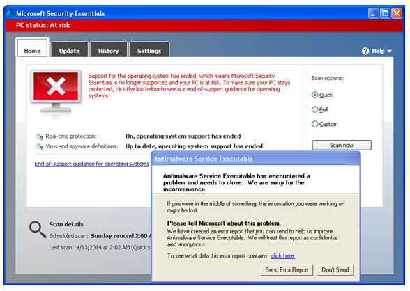 Microsoft Security Essentials on Windows XP