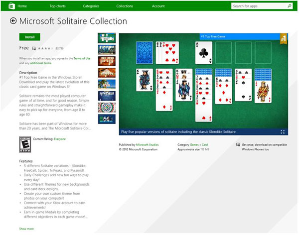 Solitaire in the Windows Store